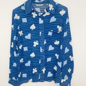 Tucker Blue Suits cards silk long sleeve blouse